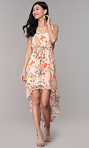 Image of floral-print high-low v-neck wedding-guest dress. Style: AS-A146395G15 Detail Image 3