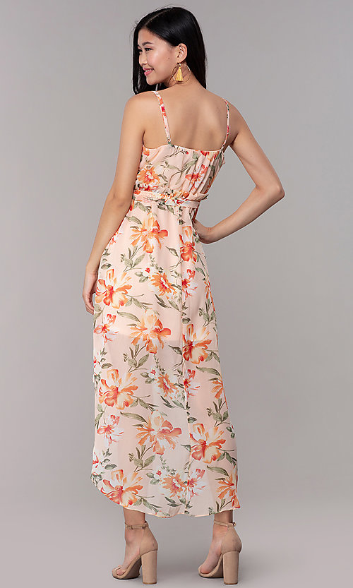 Image of floral-print high-low v-neck wedding-guest dress. Style: AS-A146395G15 Back Image