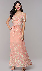 Image of floral-print long maxi wedding-guest dress. Style: AS-JH-J512479F35 Front Image