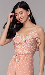 Image of floral-print long maxi wedding-guest dress. Style: AS-JH-J512479F35 Detail Image 1