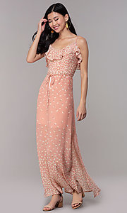 Image of floral-print long maxi wedding-guest dress. Style: AS-JH-J512479F35 Detail Image 3