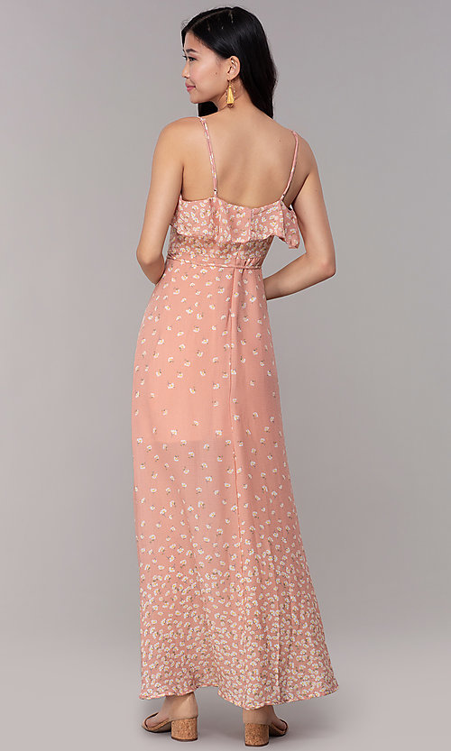 Image of floral-print long maxi wedding-guest dress. Style: AS-JH-J512479F35 Back Image