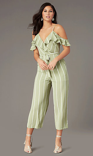 Striped Cold-Shoulder V-Neck Wedding Guest Jumpsuit