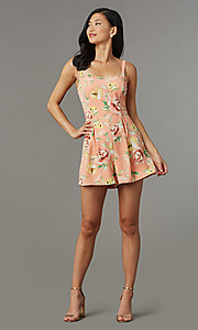 Image of short coral casual party romper with floral print. Style: AS-JH-L7055D45E34 Front Image