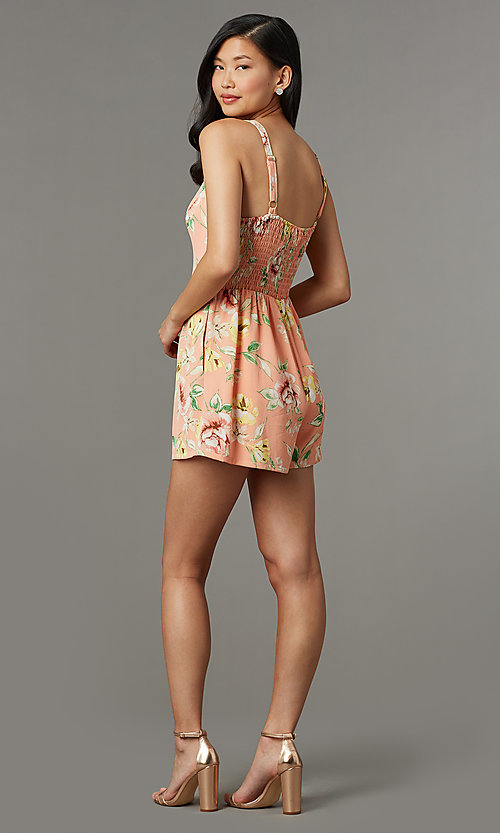 Image of short coral casual party romper with floral print. Style: AS-JH-L7055D45E34 Back Image