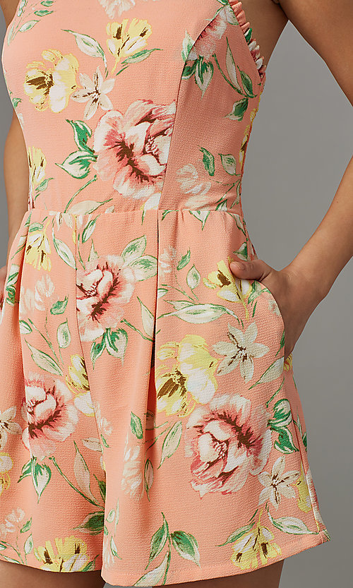 Image of short coral casual party romper with floral print. Style: AS-JH-L7055D45E34 Detail Image 2