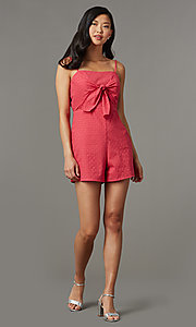 Image of berry red short casual party romper in eyelet lace. Style: AS-JH-I7112d1J92 Front Image