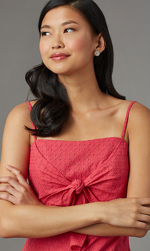 Image of berry red short casual party romper in eyelet lace. Style: AS-JH-I7112d1J92 Detail Image 1