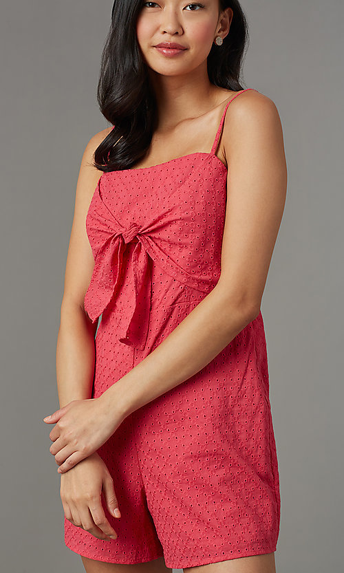 Image of berry red short casual party romper in eyelet lace. Style: AS-JH-I7112d1J92 Detail Image 2