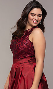 Image of Simply plus-size high-low prom dress with sequins. Style: MCR-SD-2853 Detail Image 6