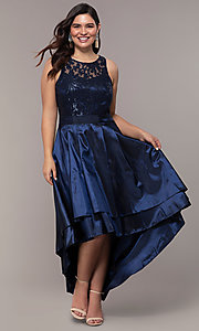 Image of Simply plus-size high-low prom dress with sequins. Style: MCR-SD-2853 Front Image