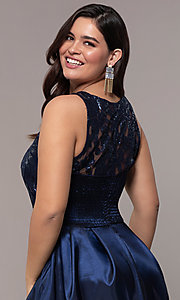Image of Simply plus-size high-low prom dress with sequins. Style: MCR-SD-2853 Detail Image 2