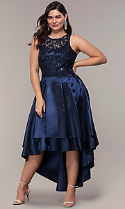 Sequin-Bodice Plus-Size High-Low Prom Dress by Simply
