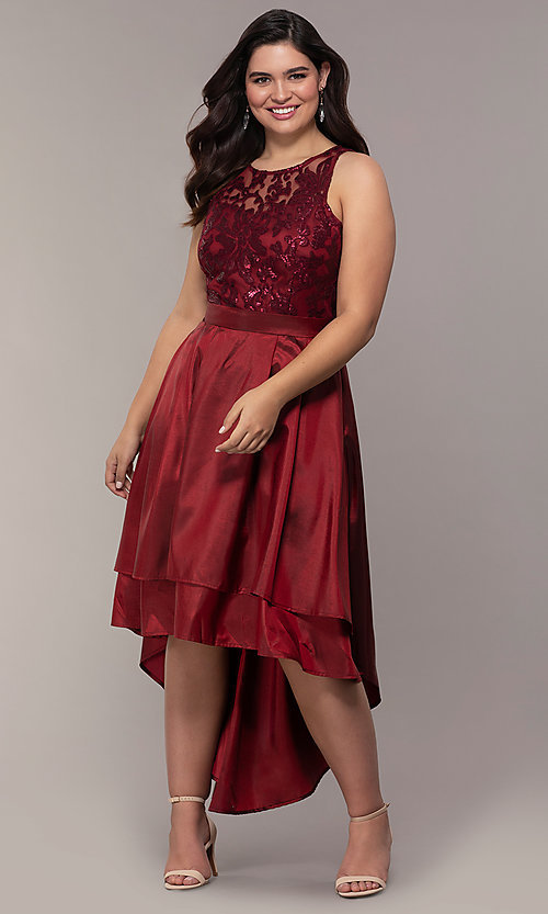 Image of Simply plus-size high-low prom dress with sequins. Style: MCR-SD-2853 Detail Image 4