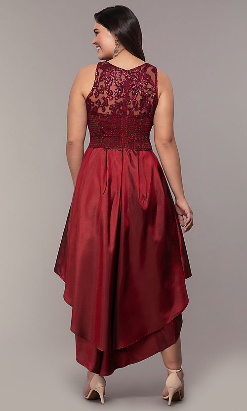 Image of Simply plus-size high-low prom dress with sequins. Style: MCR-SD-2853 Detail Image 5