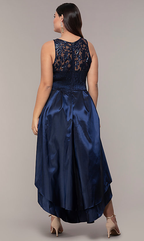 Image of Simply plus-size high-low prom dress with sequins. Style: MCR-SD-2853 Back Image