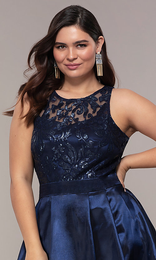 Image of Simply plus-size high-low prom dress with sequins. Style: MCR-SD-2853 Detail Image 1