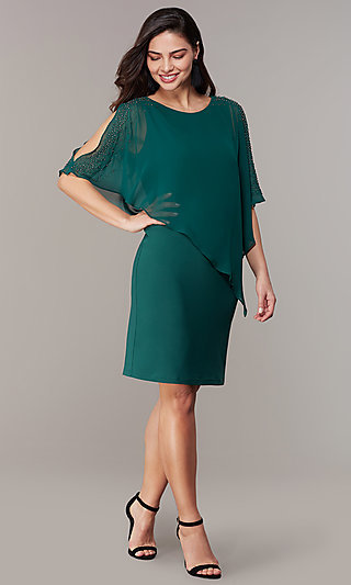 Knee-Length Wedding-Guest Dress with Capelet