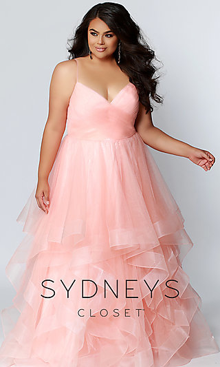 Long A-Line Plus Formal Gown with a Ruffled Skirt