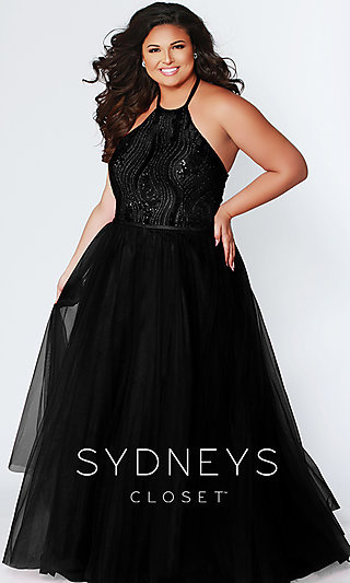Long High-Neck Halter Plus-Size Formal Gown