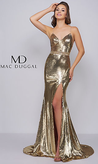 f63d15baefe V-Neck Sequin Formal Gown with Spaghetti Straps