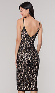 Image of midi-length short black lace wedding-guest dress. Style: JTM-JMD8729b Back Image