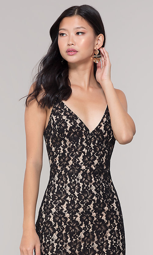Image of midi-length short black lace wedding-guest dress. Style: JTM-JMD8729b Detail Image 1
