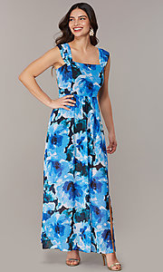 Image of long floral-print maxi wedding-guest dress. Style: ECI-NMS-S1052-8459 Front Image