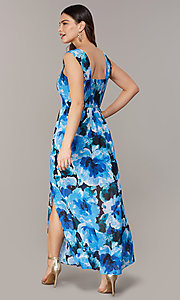 Image of long floral-print maxi wedding-guest dress. Style: ECI-NMS-S1052-8459 Back Image