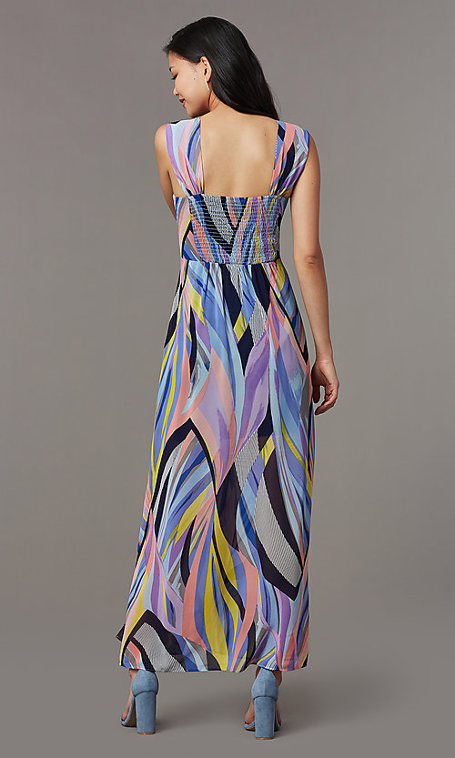 Image of square-neck print sleeveless wedding-guest dress. Style: ECI-NMS-S1052-8445 Back Image