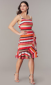 Image of knee-length retro-stripe faux-wrap casual dress. Style: ECI-NMS-S1056-8474 Front Image
