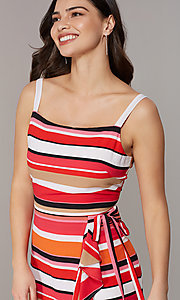 Image of knee-length retro-stripe faux-wrap casual dress. Style: ECI-NMS-S1056-8474 Detail Image 1