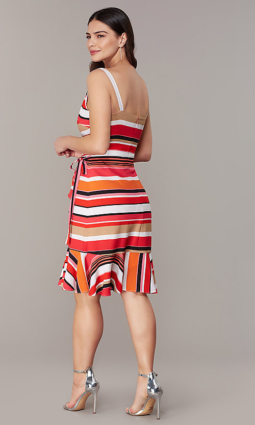 Image of knee-length retro-stripe faux-wrap casual dress. Style: ECI-NMS-S1056-8474 Back Image