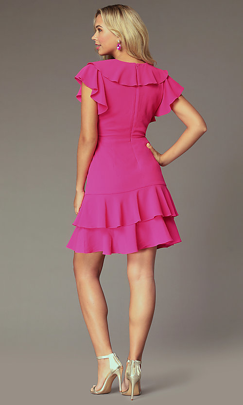 Image of v-neck short wedding-guest dress with ruffles. Style: ECI-S1085-7252 Back Image