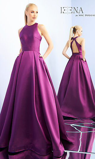 High-Neck A-Line Formal Gown with Pockets