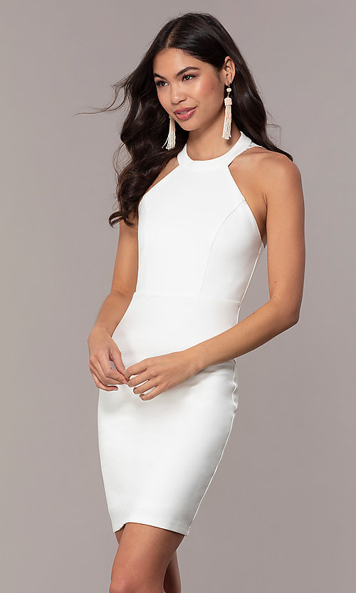 128db1e542b Image of lace-back short ivory white graduation dress. Style  SJP-AS101