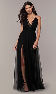 Image of long open-back formal dress with lace bodice. Style: MCR-PL-2836 Detail Image 4