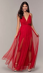 Image of long open-back formal dress with lace bodice. Style: MCR-PL-2836 Front Image