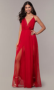 Image of long open-back formal dress with lace bodice. Style: MCR-PL-2836 Detail Image 3