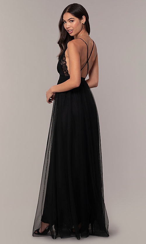Image of long open-back formal dress with lace bodice. Style: MCR-PL-2836 Detail Image 5