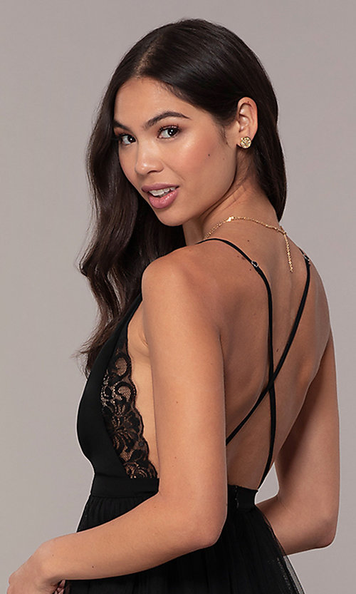 Image of long open-back formal dress with lace bodice. Style: MCR-PL-2836 Detail Image 7