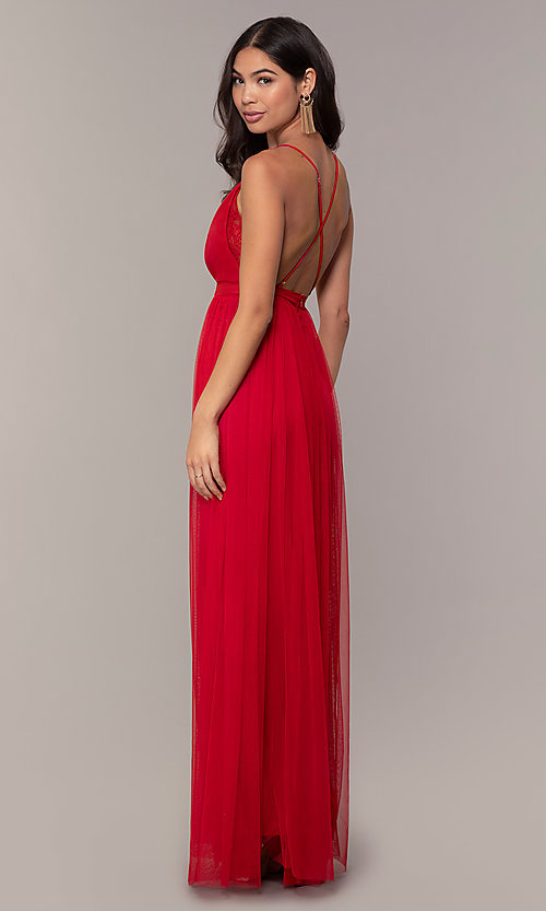 Image of long open-back formal dress with lace bodice. Style: MCR-PL-2836 Back Image