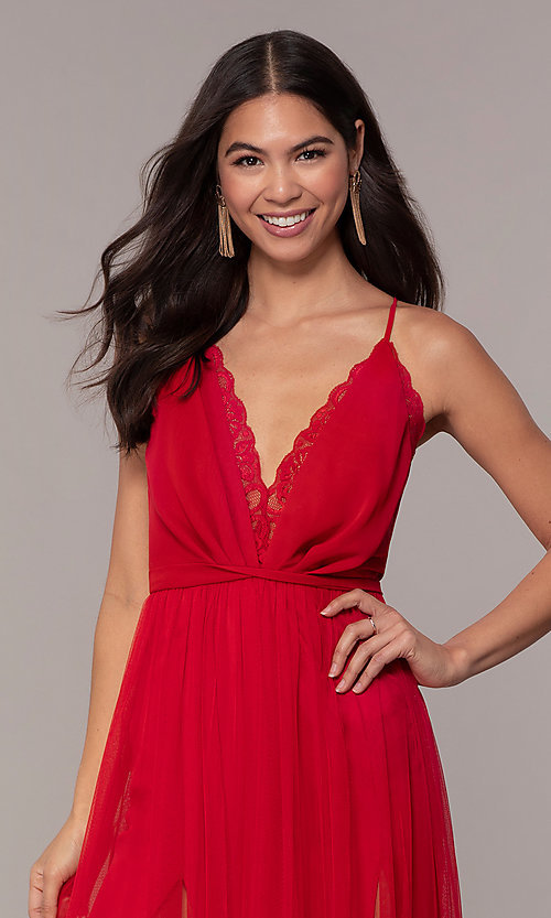 Image of long open-back formal dress with lace bodice. Style: MCR-PL-2836 Detail Image 1