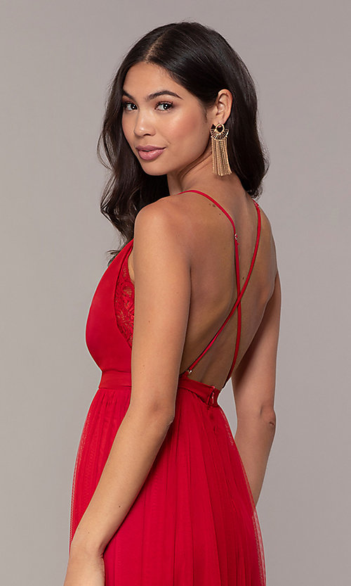 Image of long open-back formal dress with lace bodice. Style: MCR-PL-2836 Detail Image 2