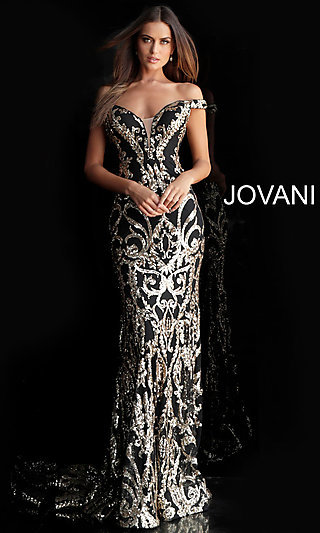 97c6f480ae9 Long Jovani Sequin Formal Gown with a Train