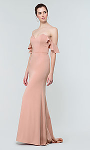 Image of stretch satin long bridesmaid dress with ruffles. Style: KL-200171 Detail Image 8