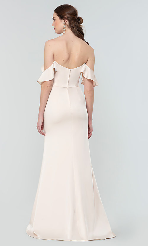 Image of stretch satin long bridesmaid dress with ruffles. Style: KL-200171 Back Image