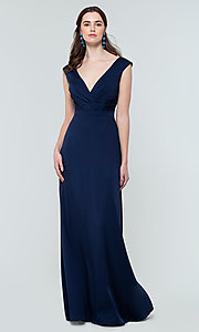 Image of deep-v-back long bridesmaid dress by Kleinfeld. Style: KL-200172 Detail Image 1