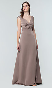 Image of deep-v-back long bridesmaid dress by Kleinfeld. Style: KL-200172 Detail Image 7