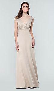 Image of deep-v-back long bridesmaid dress by Kleinfeld. Style: KL-200172 Detail Image 5